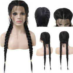 Long Center Parting Double Braids Lace Front Synthetic Wig -