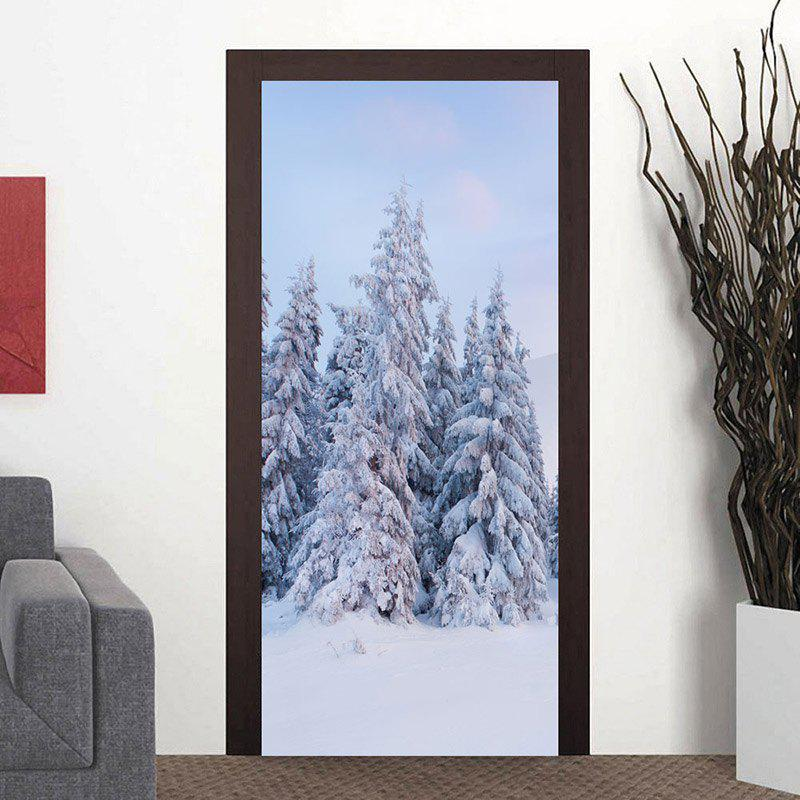 Chic Snowscape Pattern Door Cover Stickers