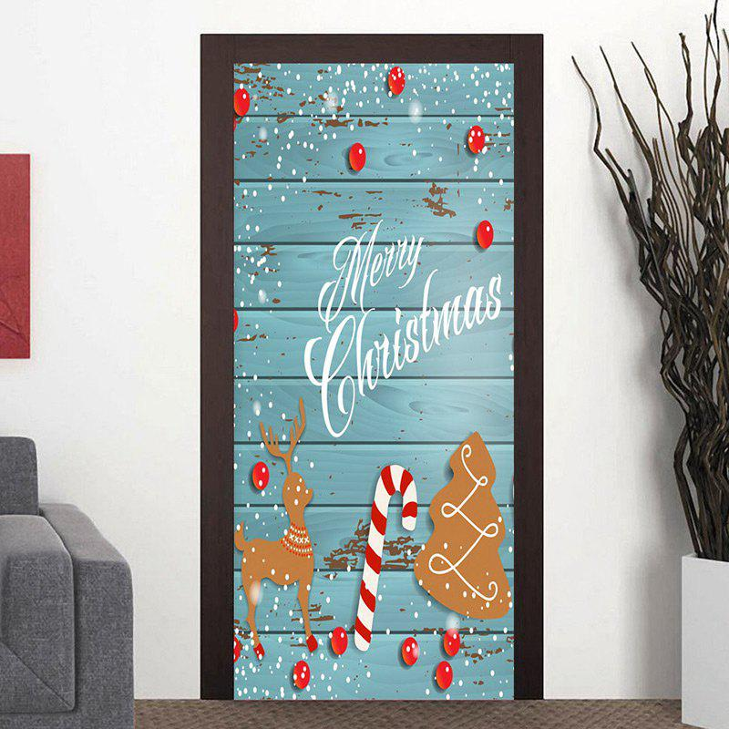 Outfit Christmas Tree Wood Grain Deer Candy Cane Pattern Door Stickers