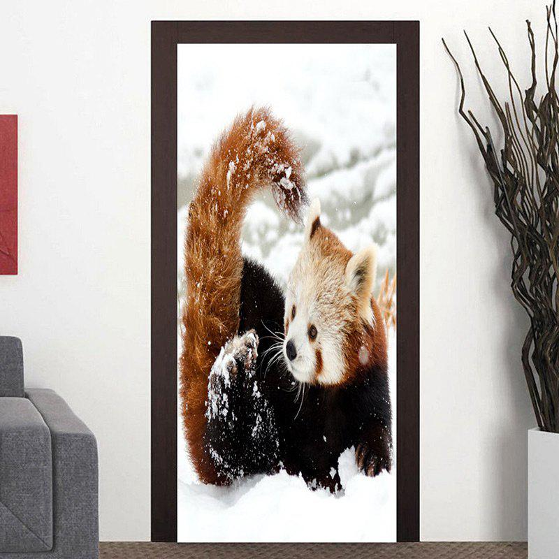 Outfits Red Panda Playing Snow Pattern Door Stickers