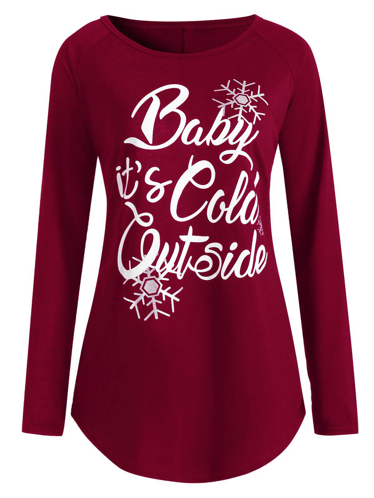 Shop Plus Size Baby Its Cold Outside Letter Christmas T-shirt