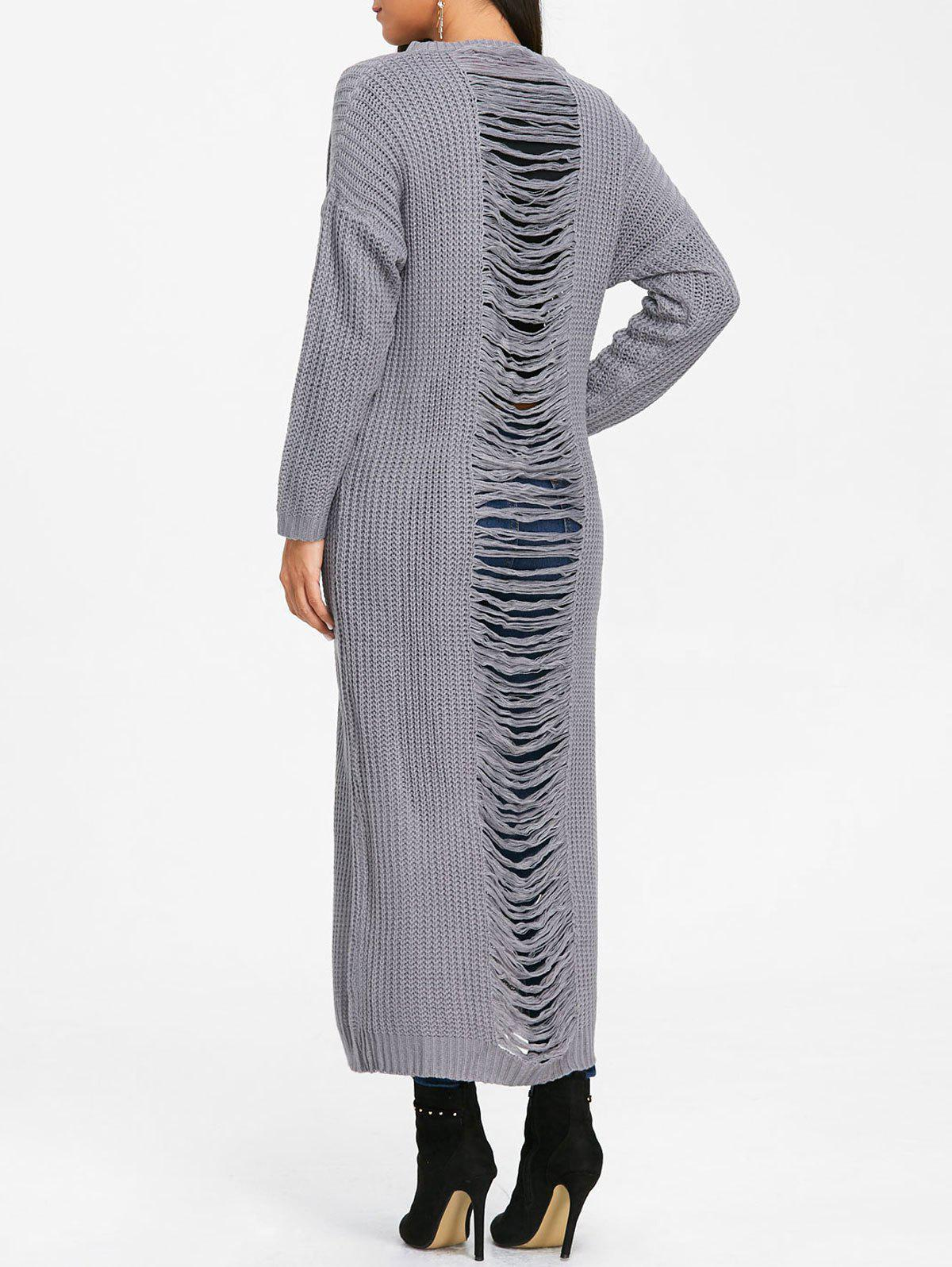 Unique Long Chunky Knit  Ripped Dress