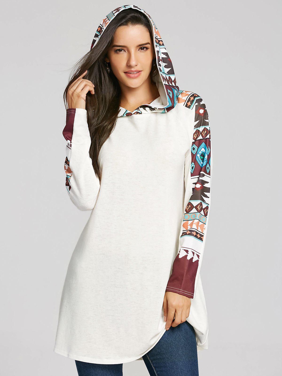 Discount Tribal Totem Print Panel Hooded Knit Top