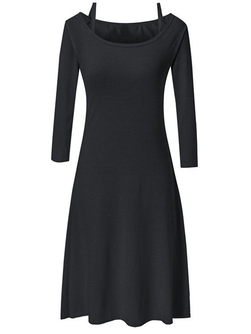 Fancy Long Sleeve Slim Fit and Flare Dress