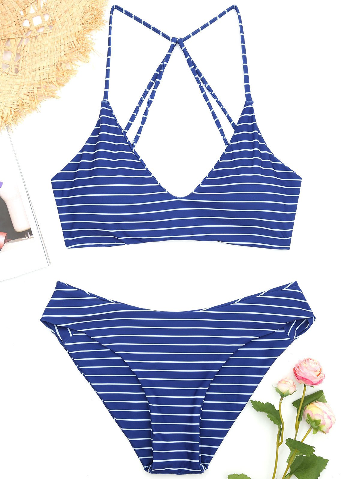 2018 Striped Caged Bathing Suit In Deep Blue M Deryan Toddler Luxe Cream Pueter Travel Sleeping Cot Bed Chic