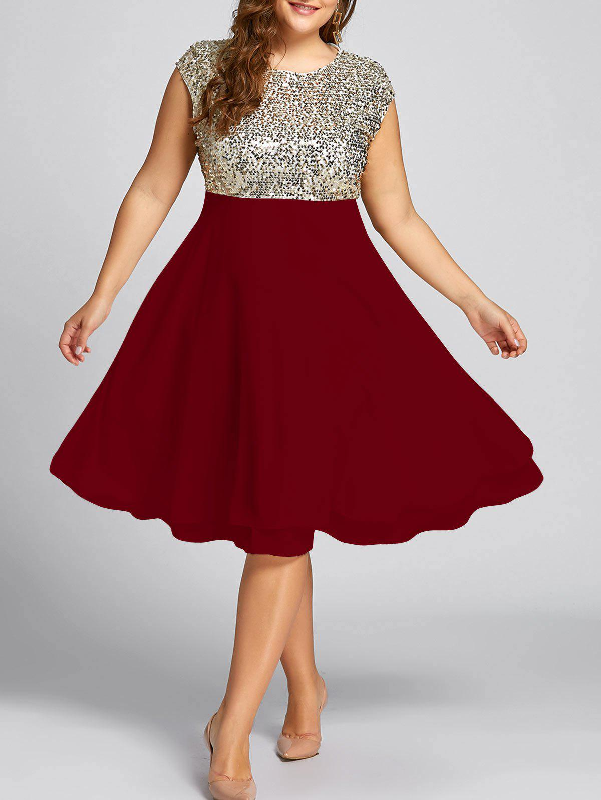 Wine Red 2xl Flounce Plus Size Sparkly Sequin Cocktail Dress ...