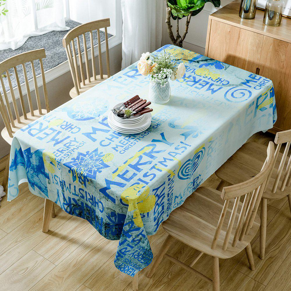 Store Merry Christmas Letters Print Fabric Waterproof Table Cloth