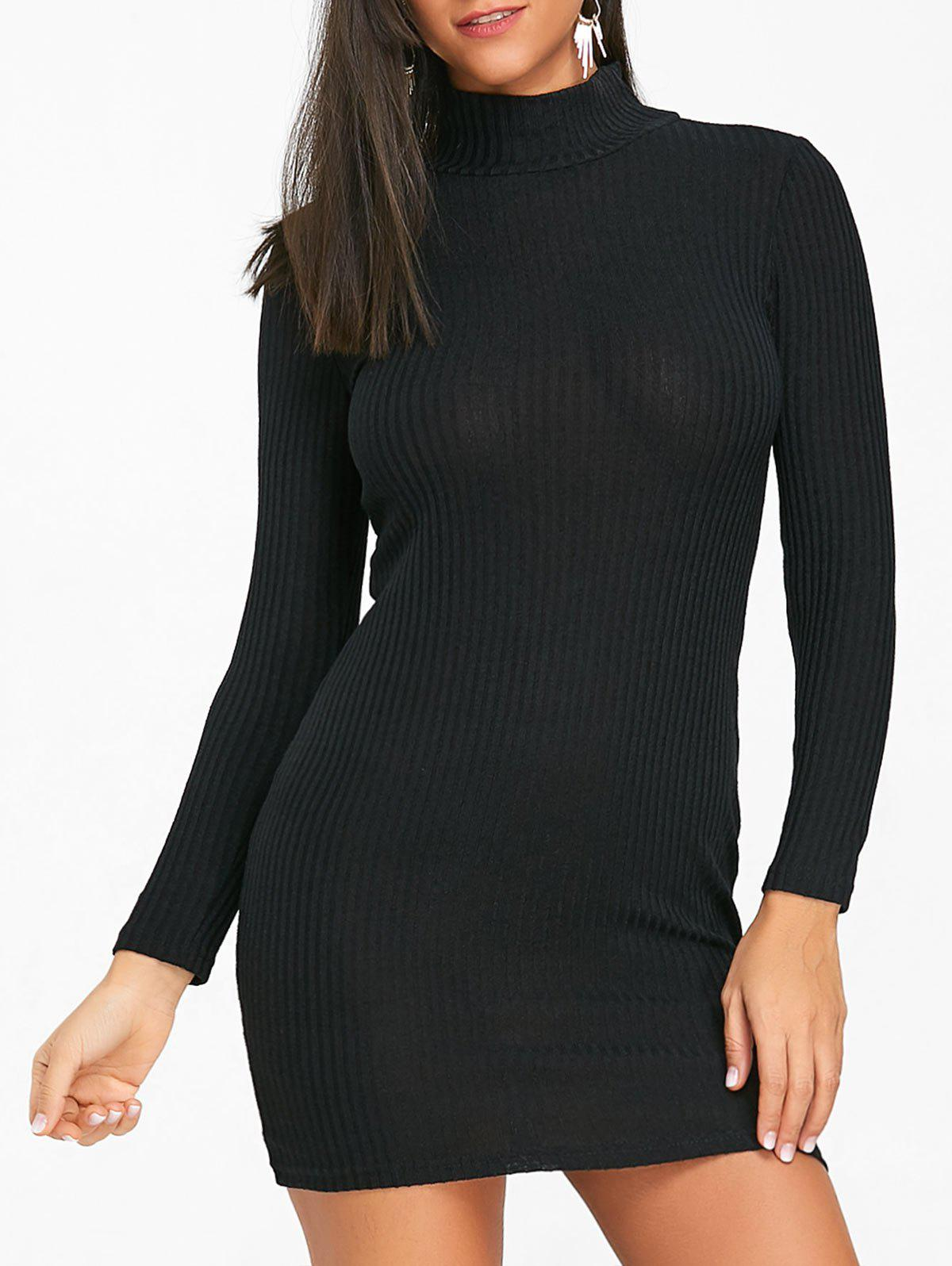 Fancy High Neck Mini Knit Bodycon Dress