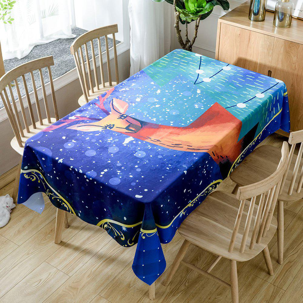Unique Christmas Graceful Elk Printed Waterproof Table Cloth