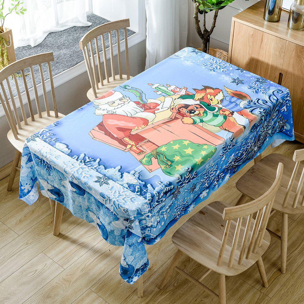 Fancy Santa Claus and Lovely Animals Pattern Waterproof Table Cloth