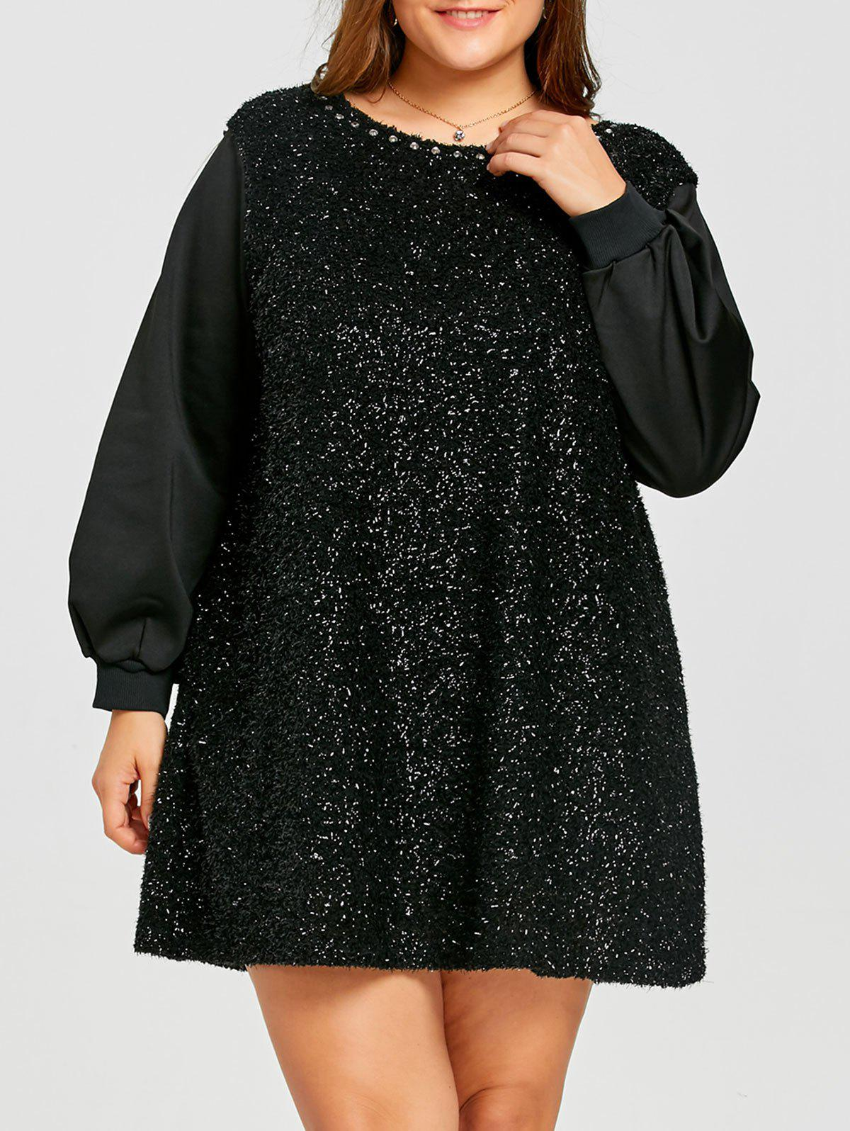 Fashion Plus Size Rhinestone Detail Fuzzy Mini Dress