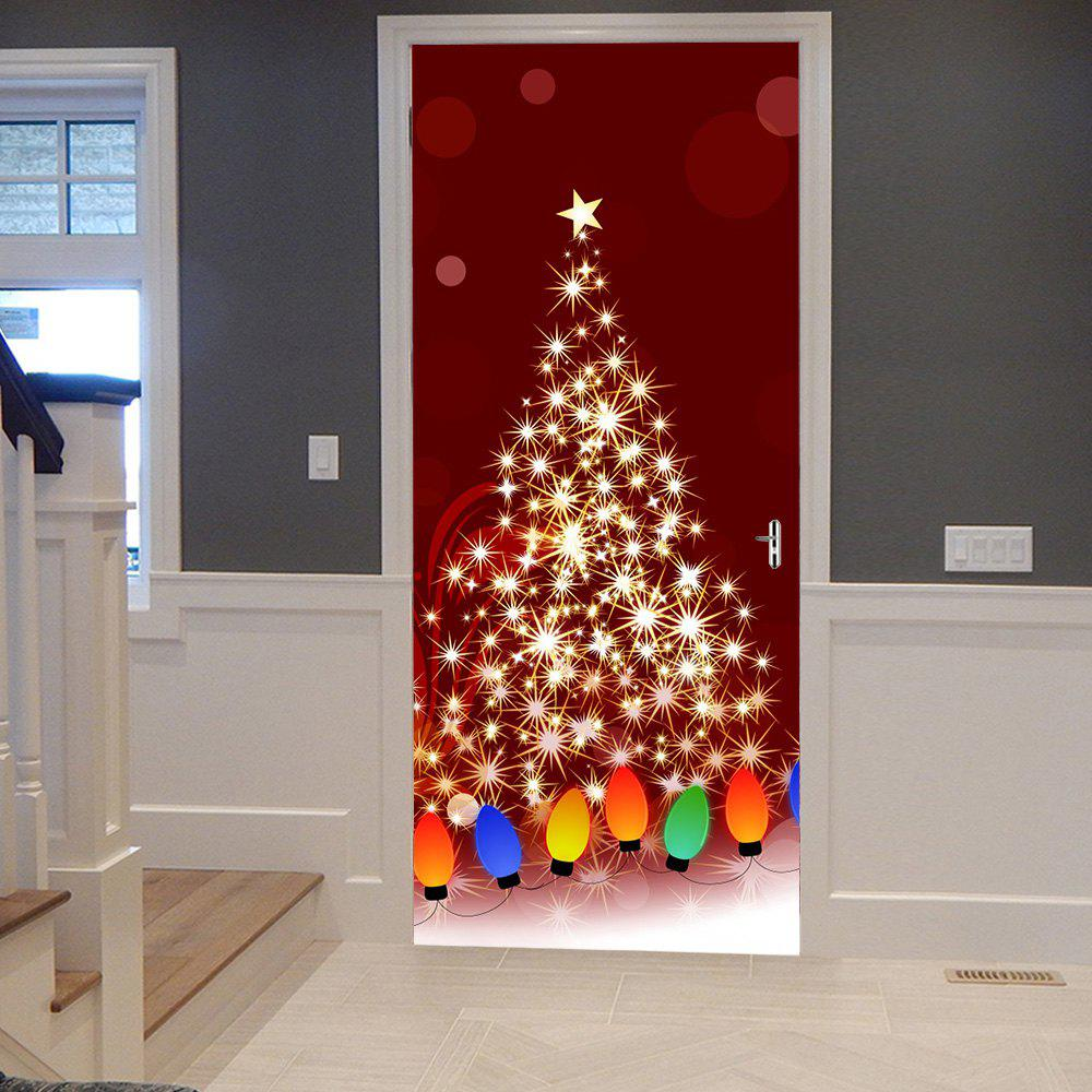 Outfits Christmas Starlight String Light Pattern Door Cover Stickers