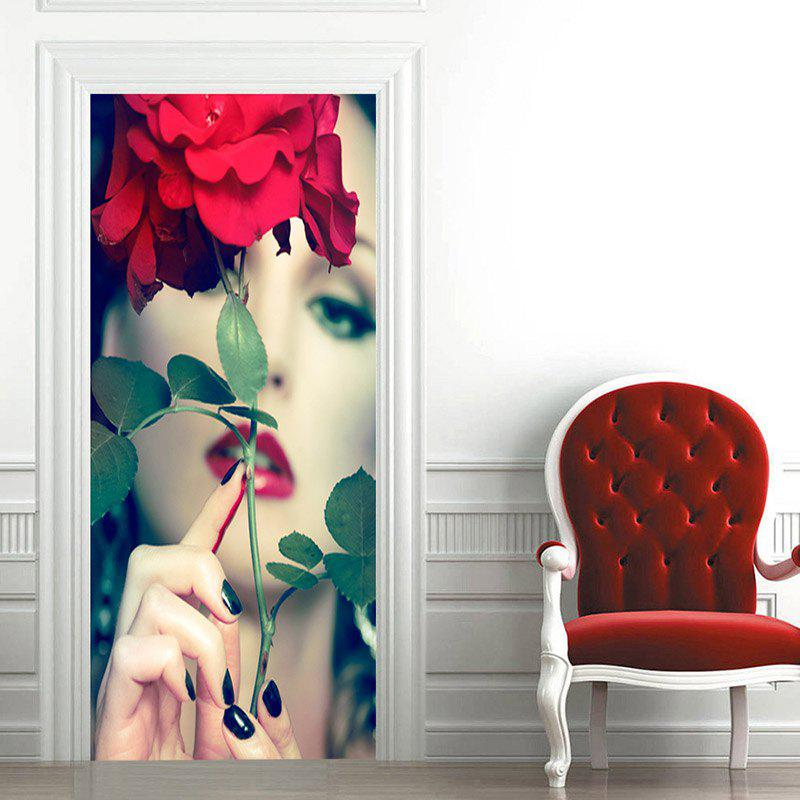New Alluring Lady and Flower Pattern Door Art Stickers