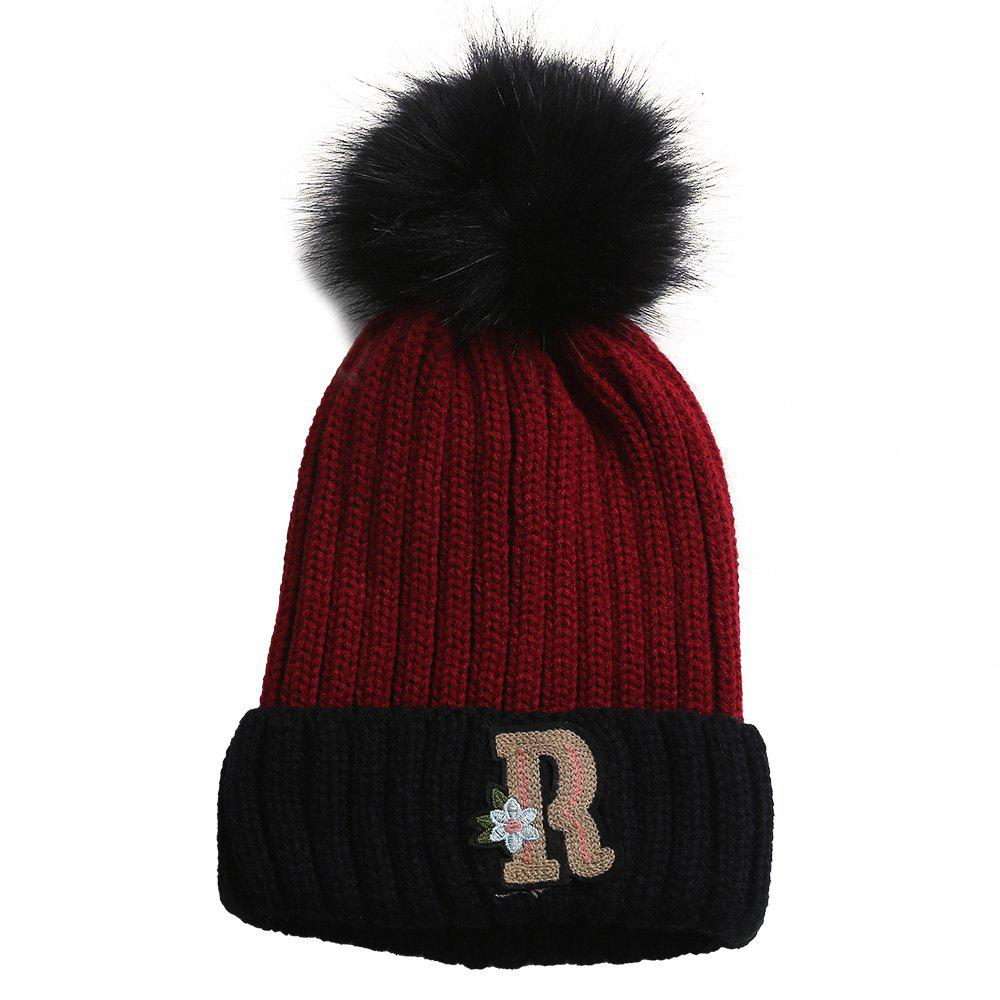 Outfit Soft Letter R Embellished Crochet Knitted Pom Beanie