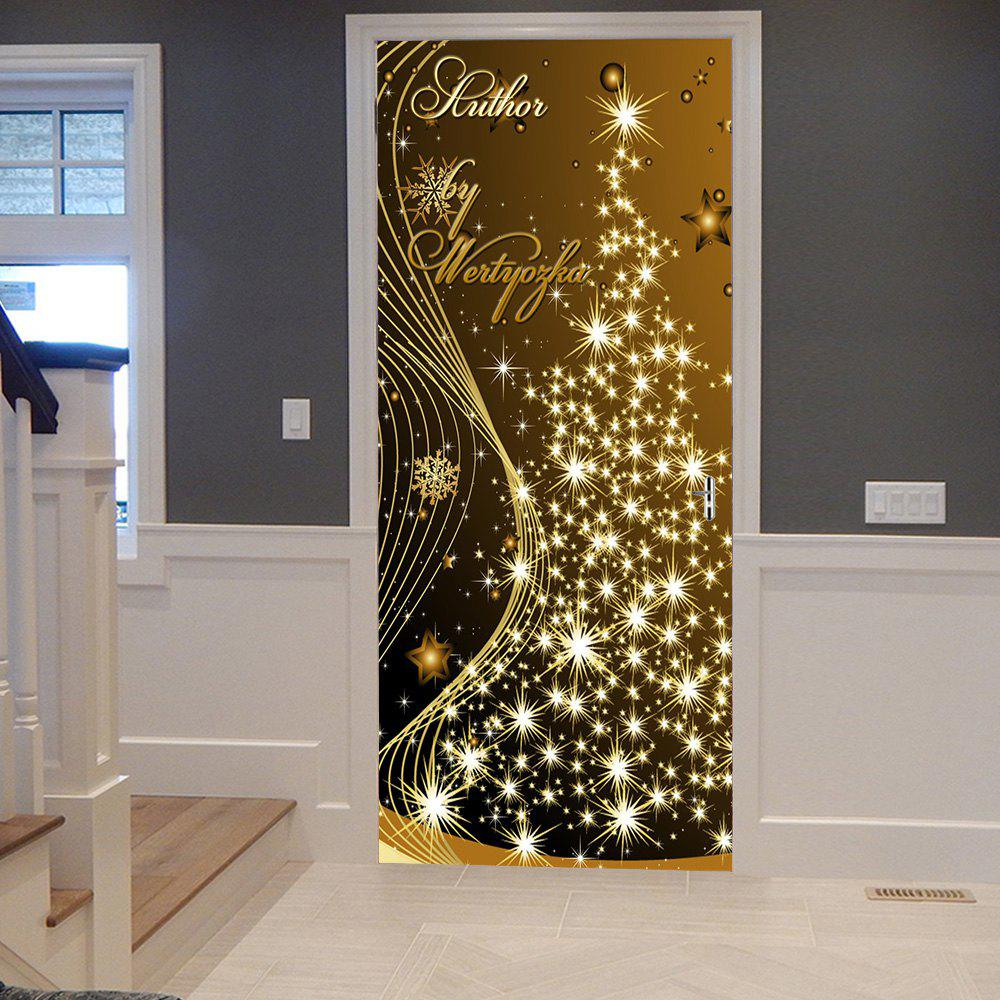Store Christmas Starlight Tree Pattern Door Cover Stickers