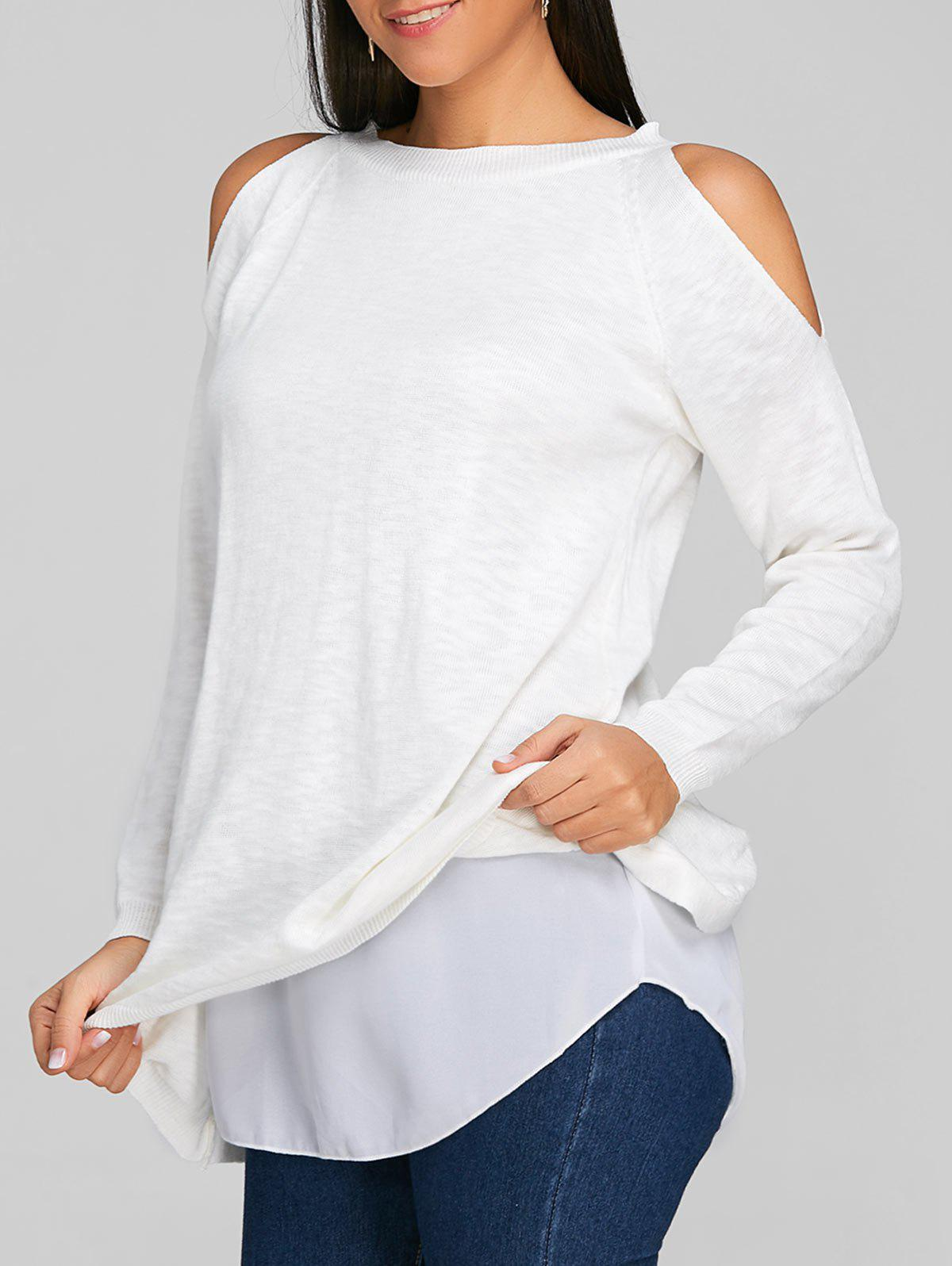 New Cold Shoulder Chiffon Insert Tunic Knitwear