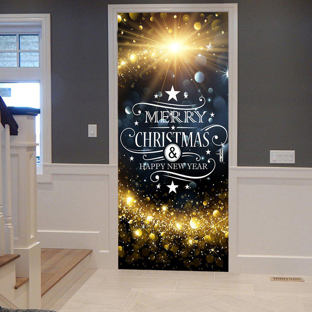 Buy Christmas Starlight Greetings Pattern Door Cover Stickers