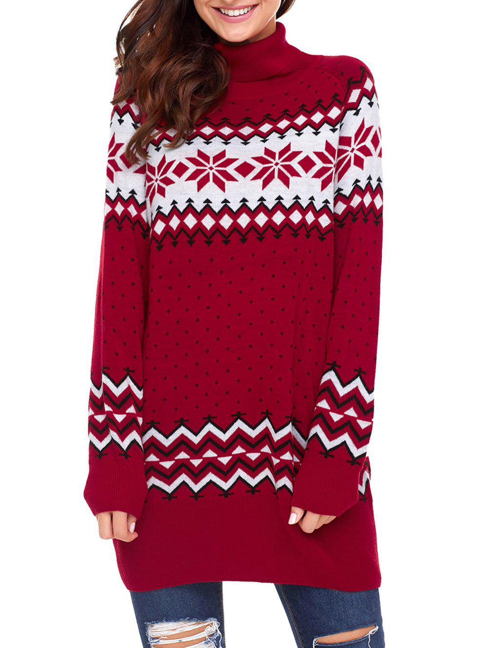 Hot Christmas Snowflake Patterned Turtleneck Tunic Sweater