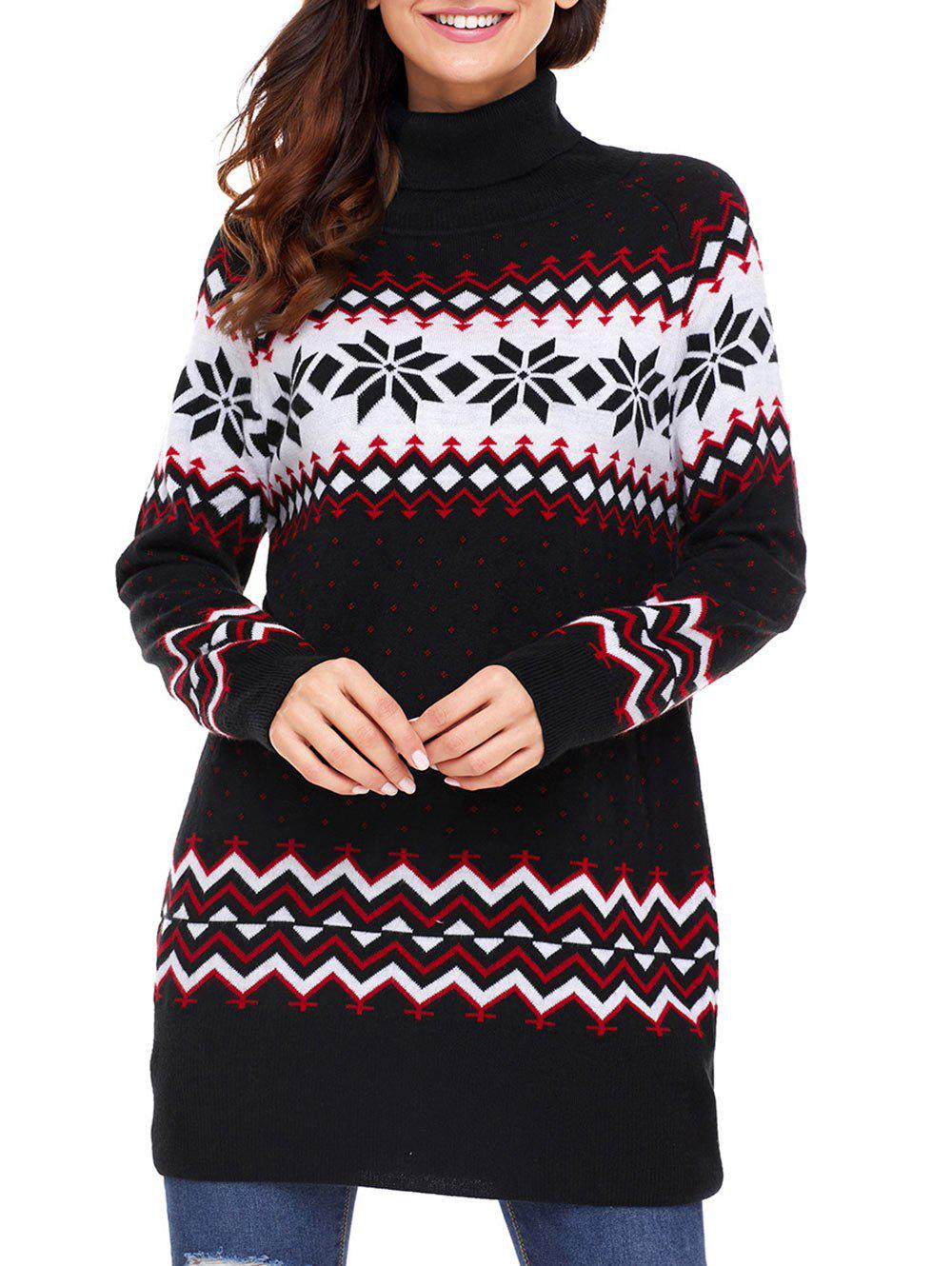 Latest Christmas Snowflake Patterned Turtleneck Tunic Sweater