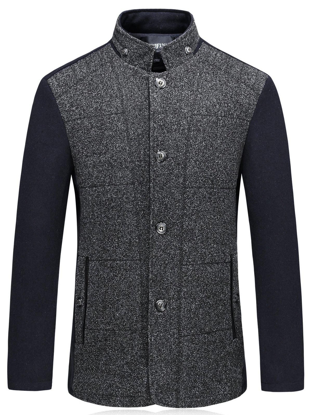 Unique Color Block Padded Single Breasted Woolen Blazer