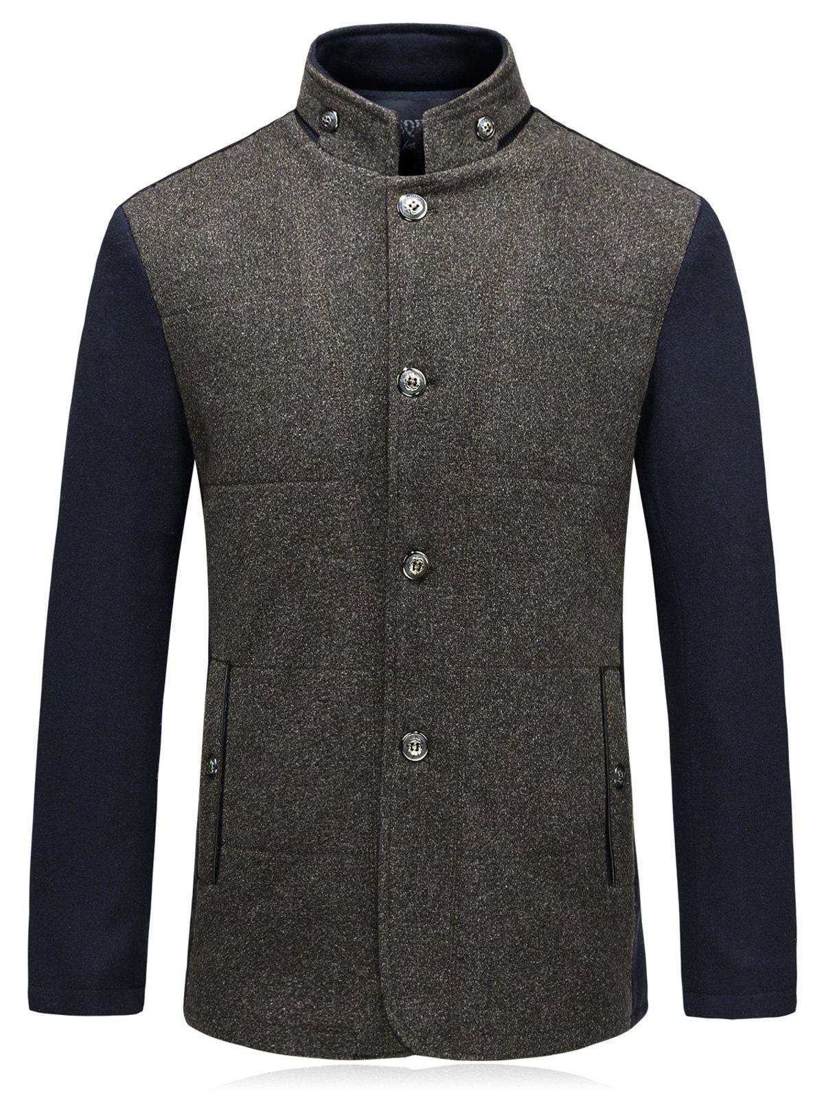 New Color Block Padded Single Breasted Woolen Blazer
