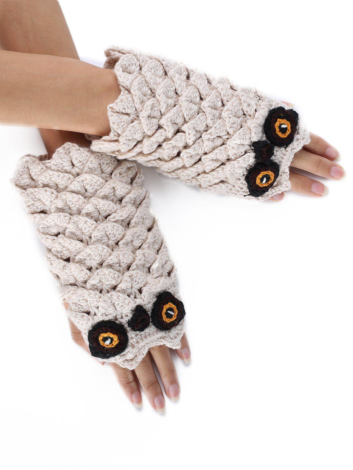 Outfits Cartoon Owl Embellished Crochet Knitted Fingerless Gloves