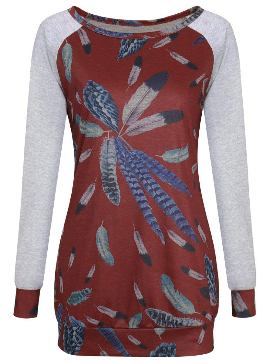 Sale Long Sleeve Feather Print T-shirt