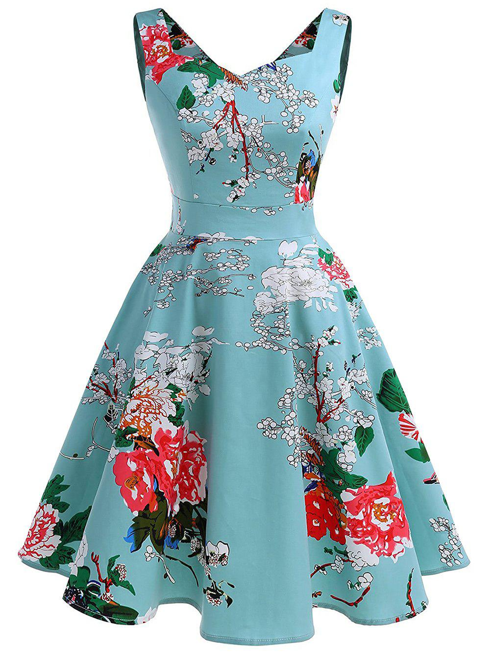 Chic Sweetheart Neck Floral Print A Line Dress