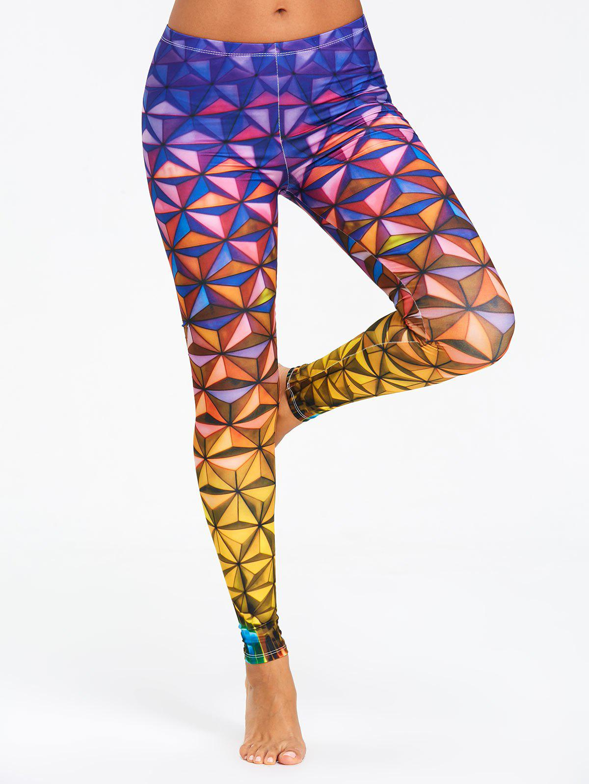 Unique Geometric 3D Print Ombre Yoga Leggings