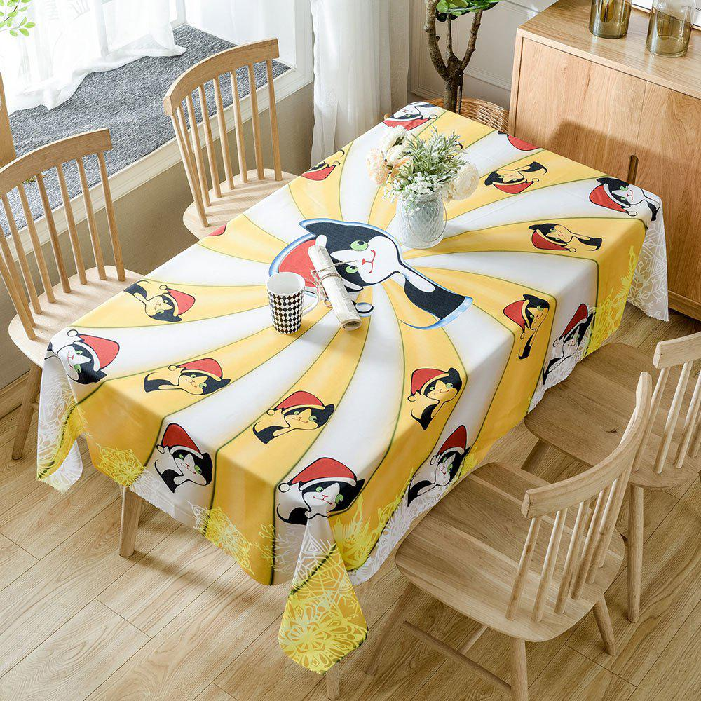 Outfits Christmas Cats Print Fabric Waterproof Tablecloth