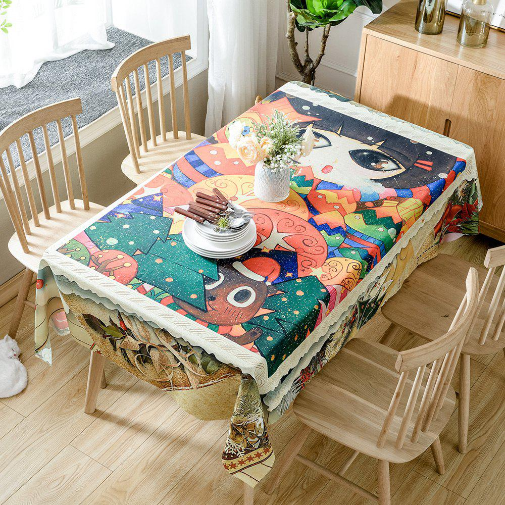 Best Christmas Cartoon Forest Print Fabric Waterproof Tablecloth