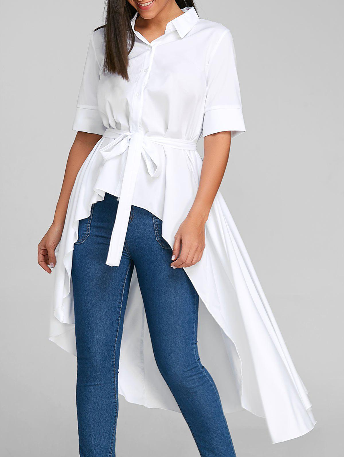 Trendy Belted High Low Shirt