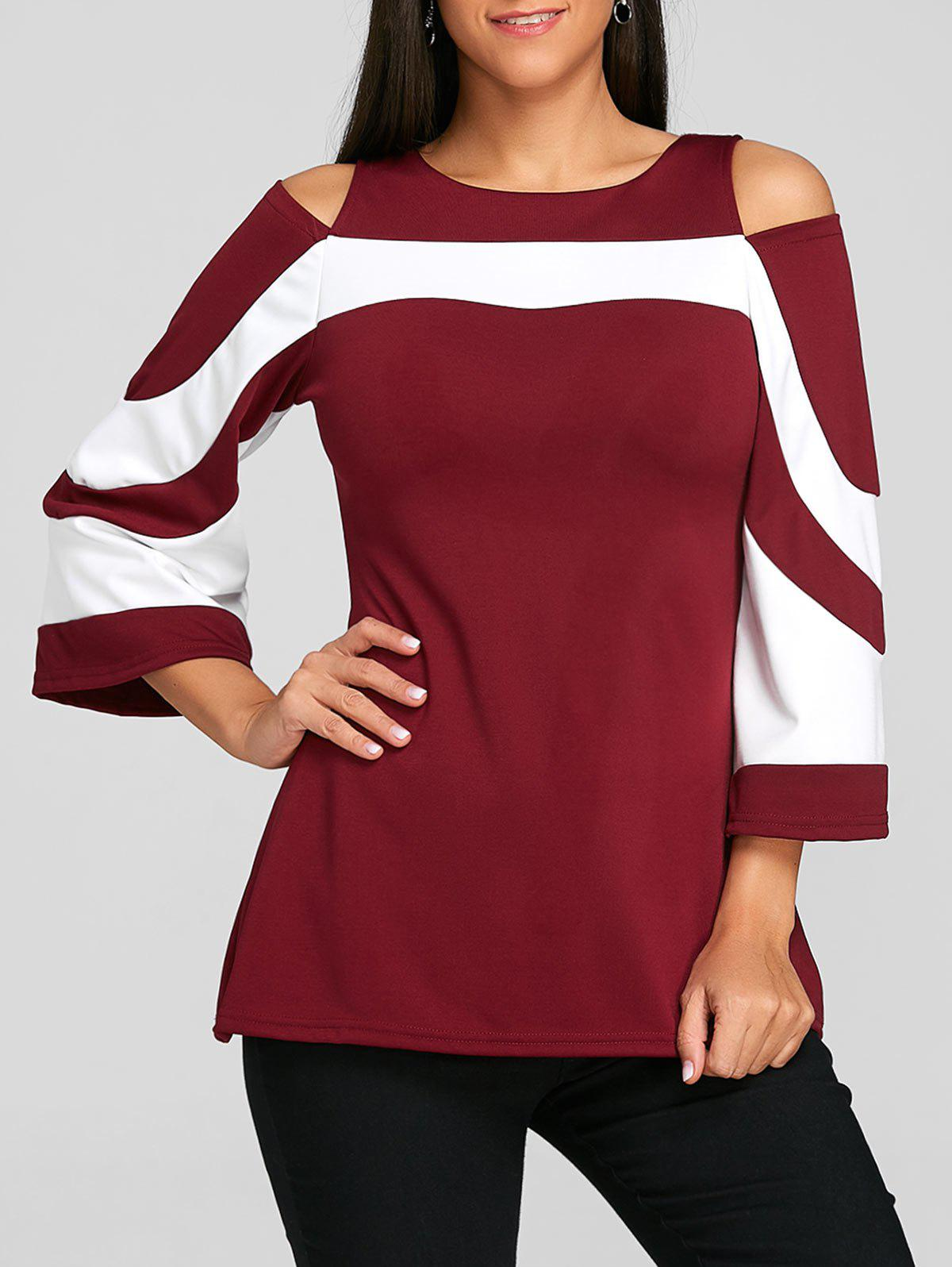 Chic Two Tone Cold Shoulder Blouse