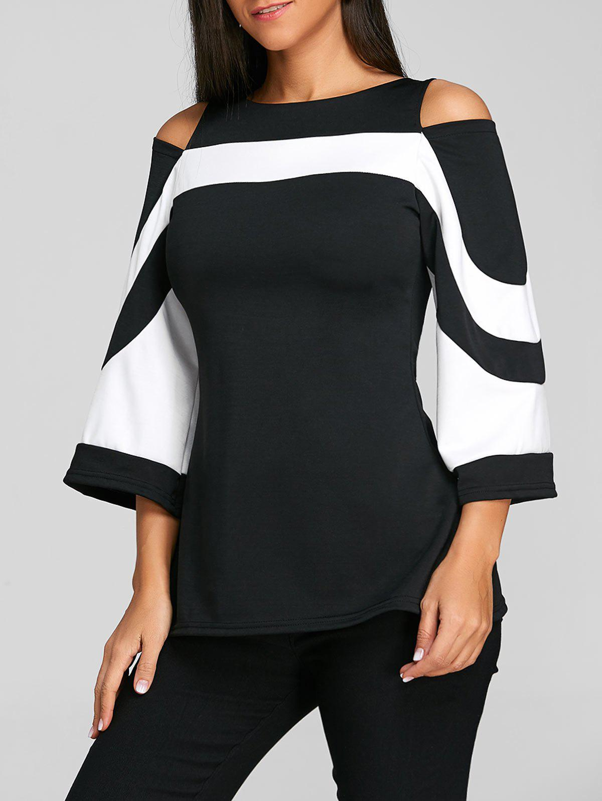 50 Off 2019 Two Tone Cold Shoulder Blouse Rosegal Com