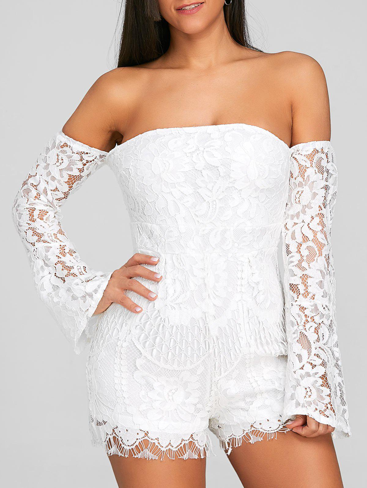 Sale Off The Shoulder Flare Sleeve Lace Romper
