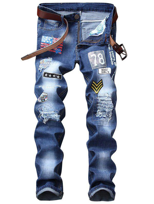 Shops Zip Fly Flag Printed Distressed Jeans