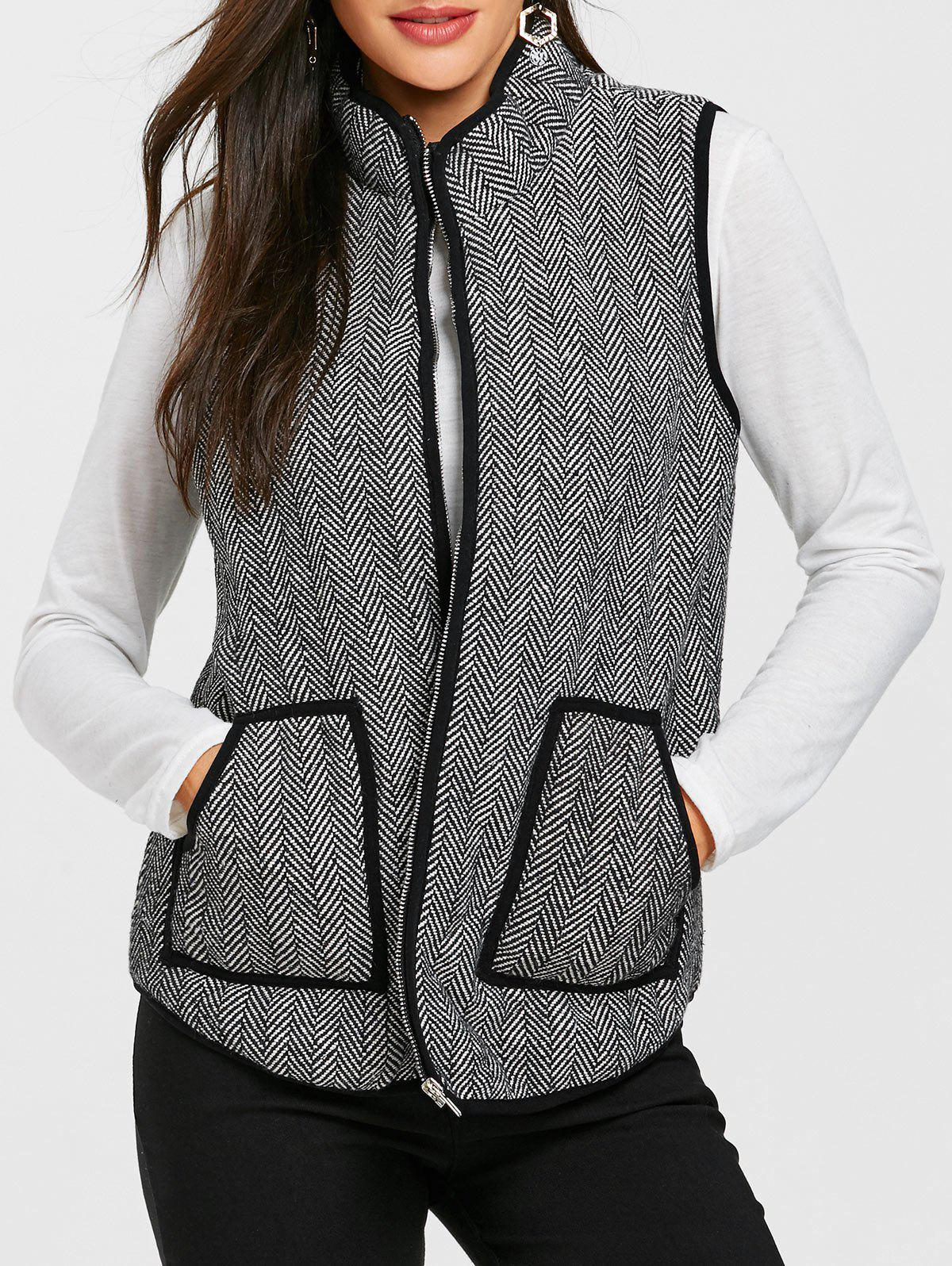 Cheap Zip Up Tweed Quilted Waistcoat
