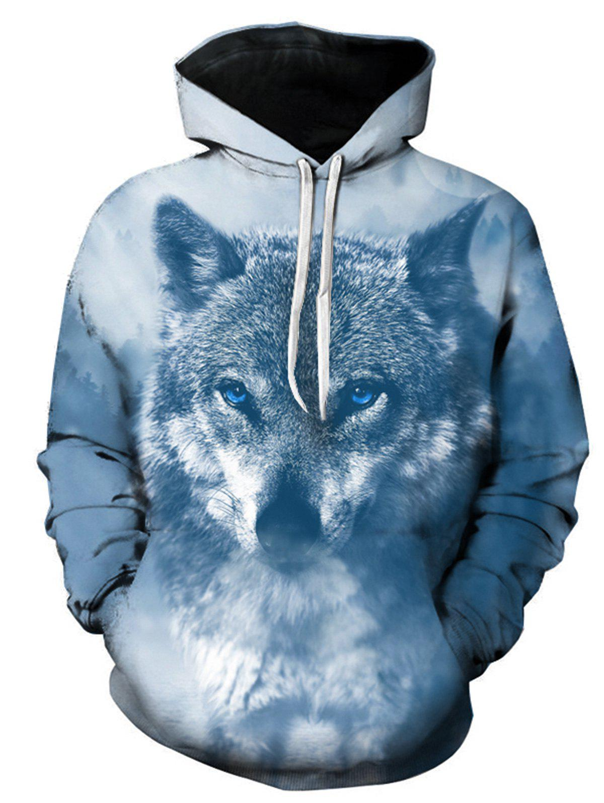Sweat à Capuche Pull-over avec 3D Loup Imprimé Multicolore L