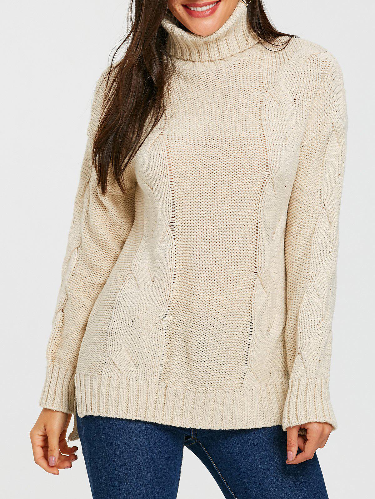 Trendy Cable Knitted Turtleneck Slit Sweater