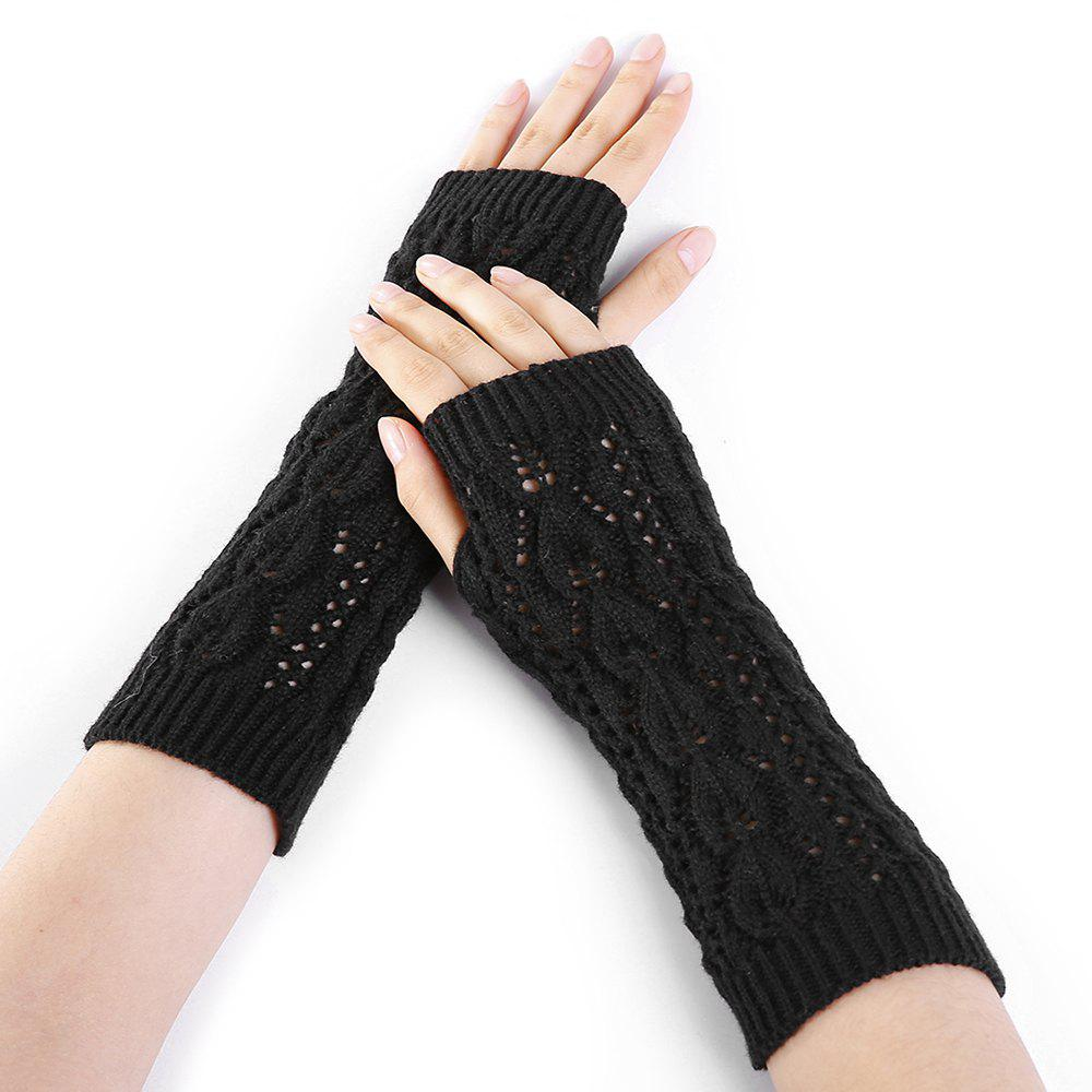 Latest Tree Branch Decorated Hollow Out Exposed Finger Knitted Gloves