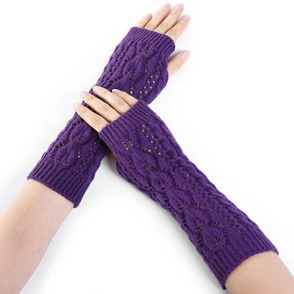 Online Tree Branch Decorated Hollow Out Exposed Finger Knitted Gloves