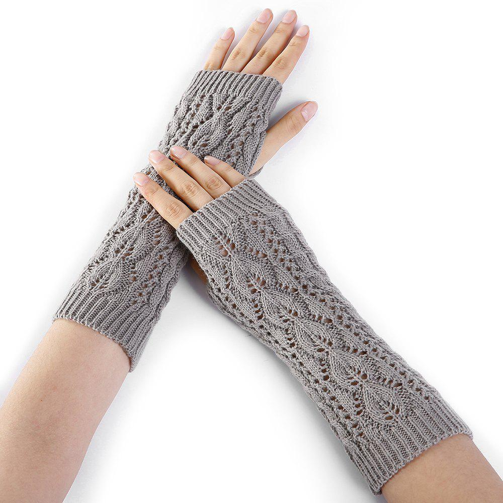 Trendy Tree Branch Decorated Hollow Out Exposed Finger Knitted Gloves