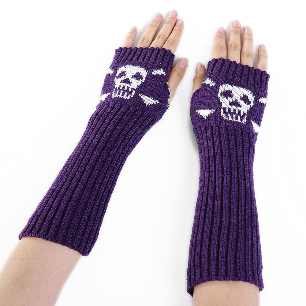 Online Soft Skull Pattern Embellished Fingerless Knitted Arm Warmers
