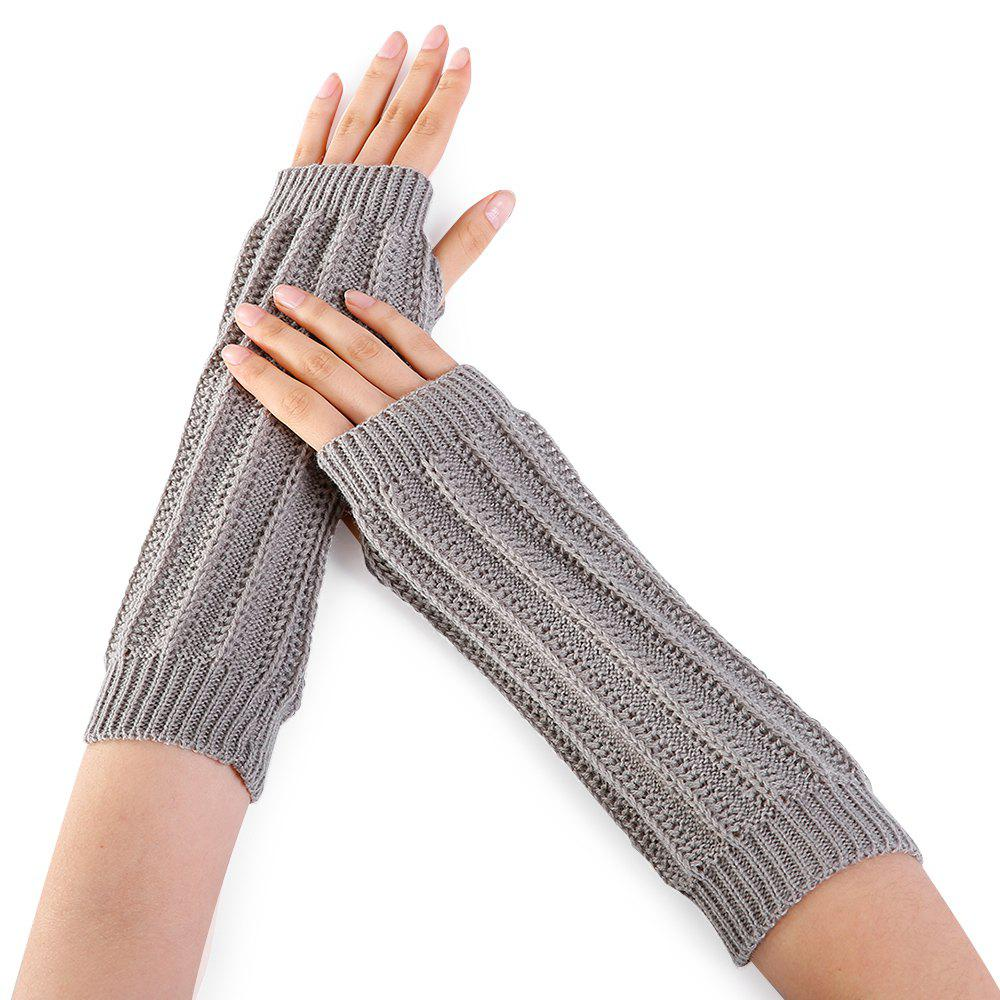 Shops Stripe Pattern Hollow Out Fingerless Knitted Arm Warmers