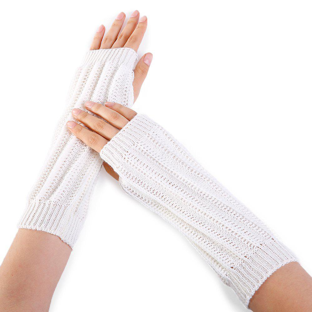 Hot Stripe Pattern Hollow Out Fingerless Knitted Arm Warmers