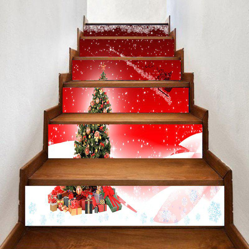 Fashion Christmas Tree and Santa Sleigh Printed Decorative Stair Stickers