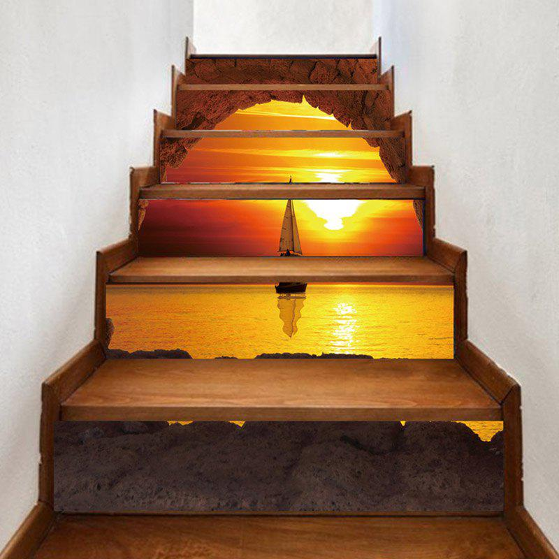 Shop Sunset Sailboat Pattern Decorative Stair Stickers