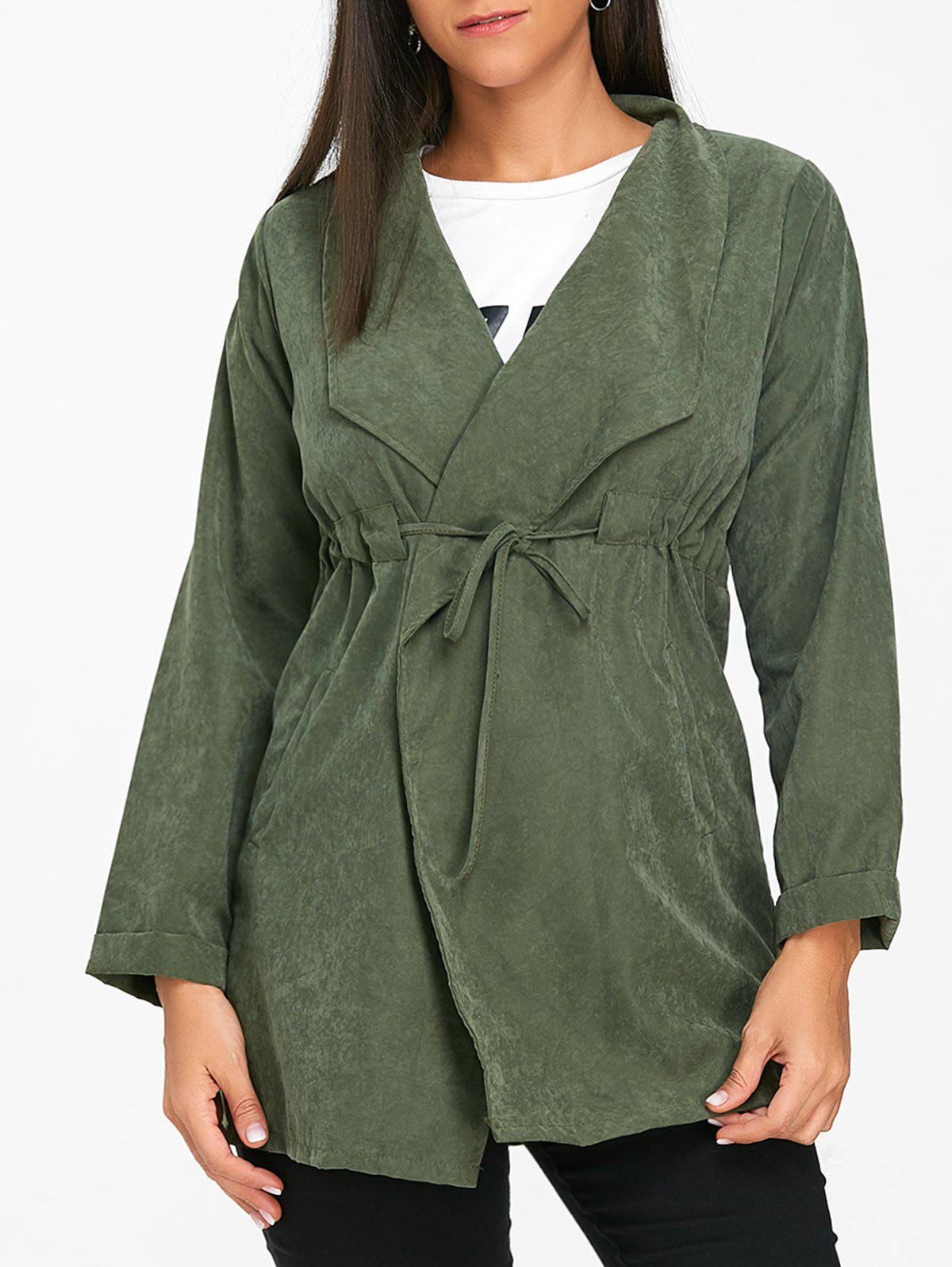 Hot Drawstring Tunic Open Front Coat