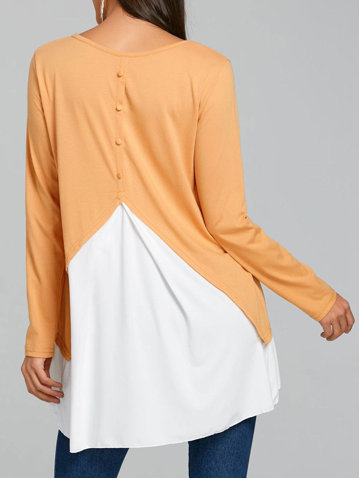 Latest Button Panel Embellished High Low Tunic T-shirt