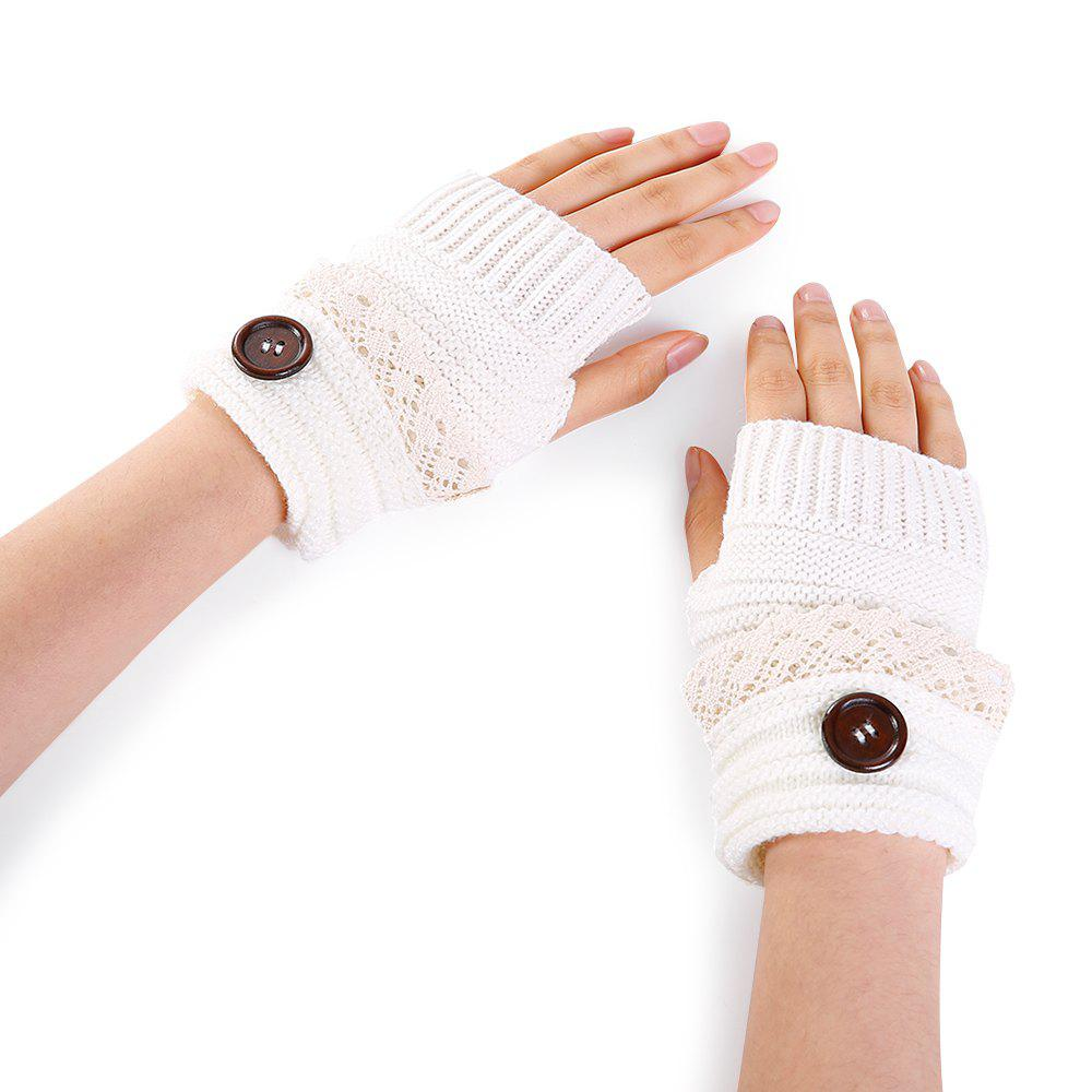 Trendy Soft Button Embellished Lace Edge Knitted Fingerless Gloves